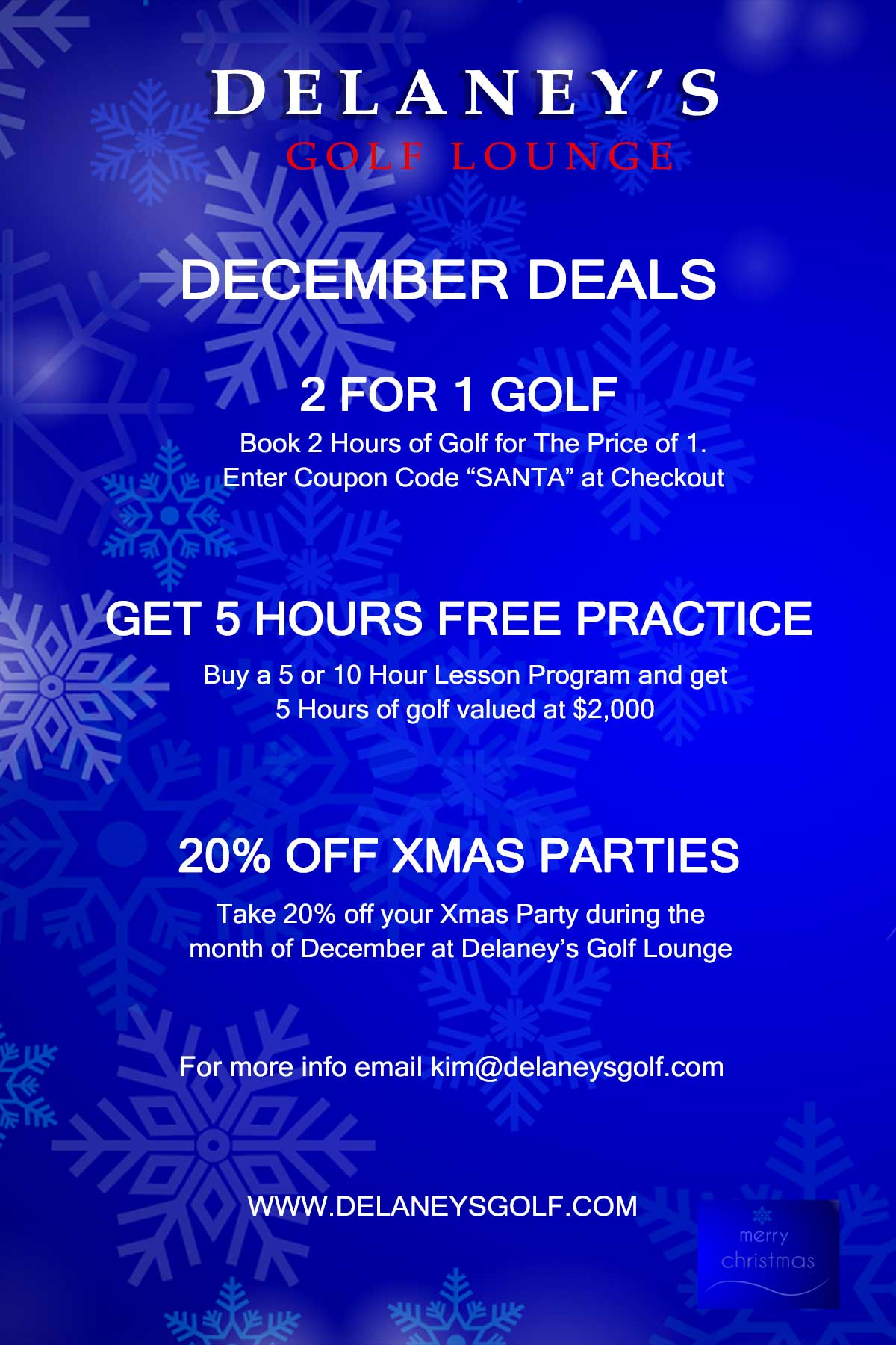 December Specials at Delaneys Golf